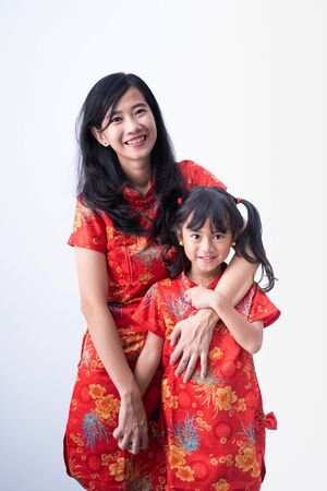 mother and daughter on chinese new year