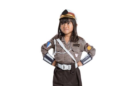 police girl wearing a uniform with two hands on her waist