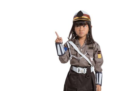 police girl wearing a uniform with one hand pointing fingers up