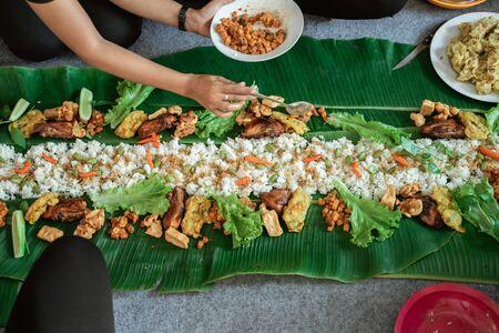 javanese traditional food laid on banana leaf Reklamní fotografie