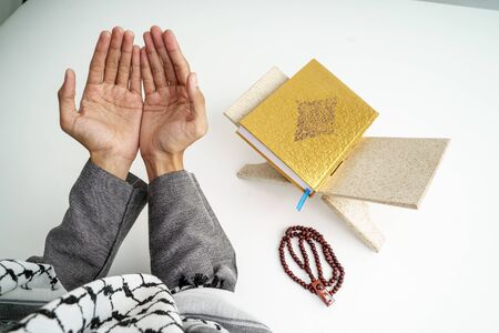 hand open arm while pray in islamic culture