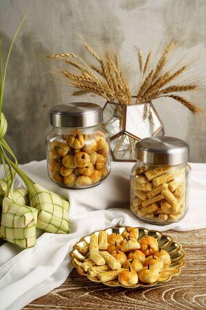 ketupat and snacks for eid mubarak