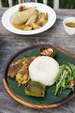 indonesian nasi rames served on plate Stock Photo