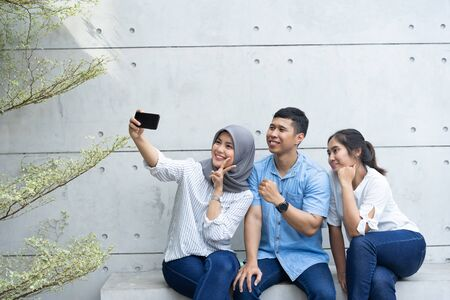 selfie group of friends when hang out