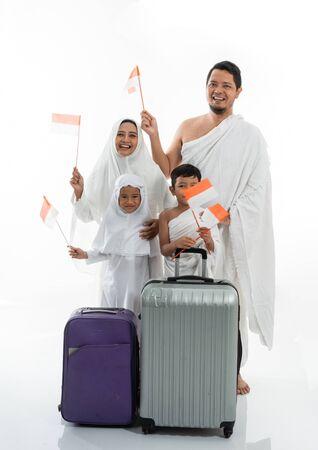muslim umrah and hajj with indonesian flag