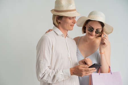 couple shopping and selfie Reklamní fotografie
