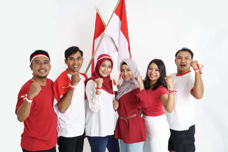 excited friend on indonesian independence day celebration Stock Photo