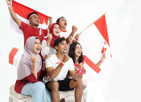 indonesian supporter celebrating victory of indonesia