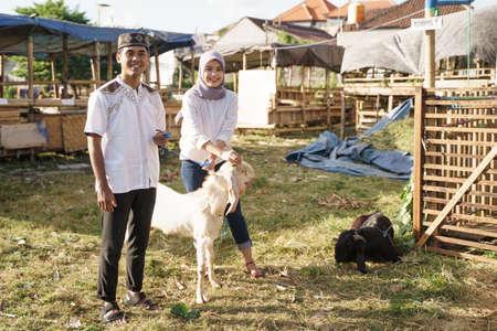 muslim couple buy a goat for eid adha sacrifice or idul qurban Reklamní fotografie