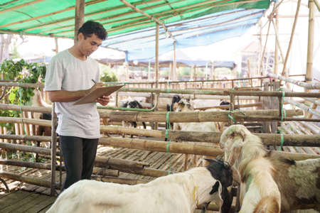 farmer animal worker at his traditional farm Stock Photo