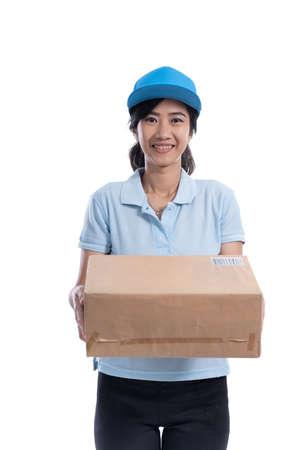 female uber rider or driver delivering package