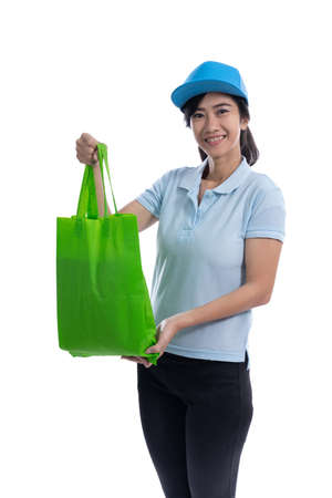 female rider or driver delivering package