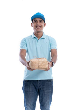 handsome food courier isolated