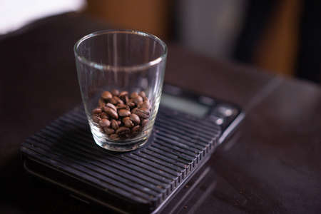 close up coffee beans in the glass. Stok Fotoğraf