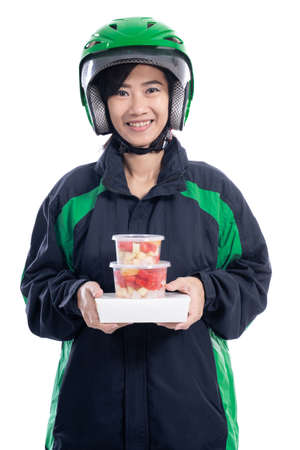 Female delivery concept background. Stock Photo