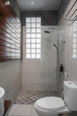 toilet sit and partition glass for shower bathroom