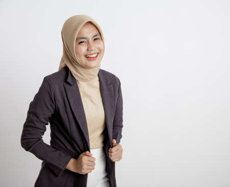 young business woman cheerful ready to work, hand holding suits office work concept isolated white background