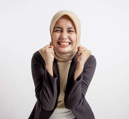 woman entrepreneur wearing hijab exasperated expression office work concept isolated white background