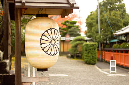 The lantern in Japanese temple. Stock Photo