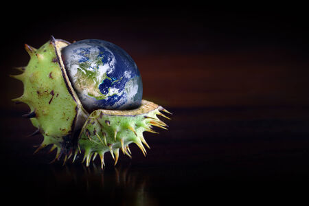 greenhouse gas: Globe protected in a broken chestnut shell, symbol of environmental conservation, ozone, greenhouse gas, collage