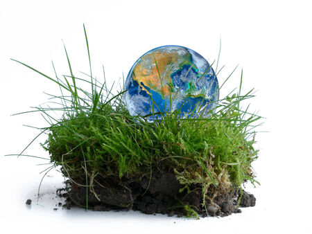 earth globe in a piece of green grass, isolated on white background, concept - Earth Day. photo