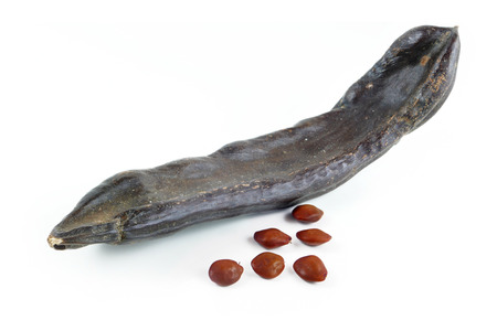 carob: dried carob pod or St. Johns bread and seeds, isolated on white background