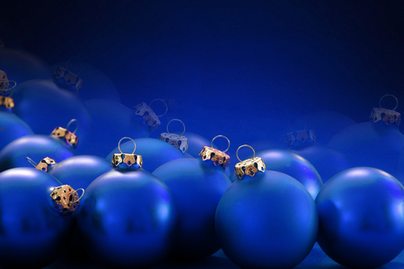 many christmas baubles: christmas background: many blue christmas baubles with golden loops Stock Photo