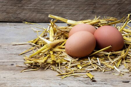 thee: three eggs in a nest of golden straw on old wood, copyspace