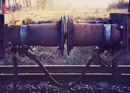 coupling: buffer an coupling from railway carriage, vintage style