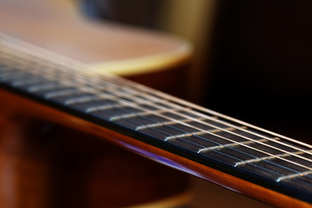 frets: guitar fretboard, detail with shallow depth of field and copy space