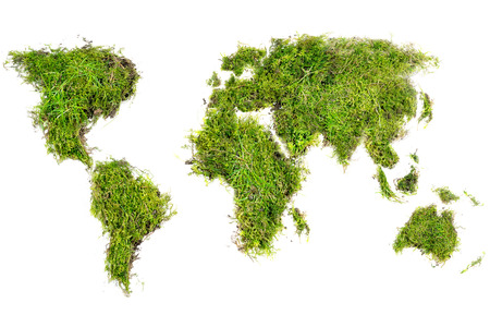 world map placed of natural turf with grass and moss, concept for ecology and environmental protection, isolated on white background