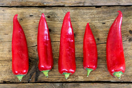 chili: Red sweet pointed peppers in a row on old rustic wood, view from above