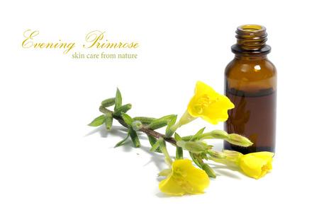 Yellow Nachtkerze (Oenothera biennis) Blumen und eine kleine Flasche mit Öl, Kosmetik und natürliche Heilmittel für empfindliche Haut und Ekzemen, isoliert auf einem weißen Hintergrund, Beispieltext