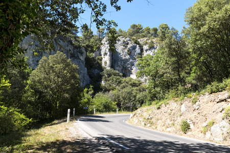 southern europe: winding road between rugged mountains in Southern Europe, Luberon, Provence, France