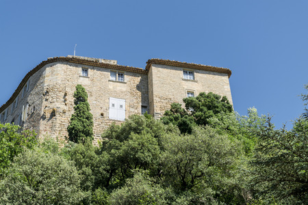 luberon: Building in an old mountain village in southern Europe, Ansouis, Provence, France, Luberon region