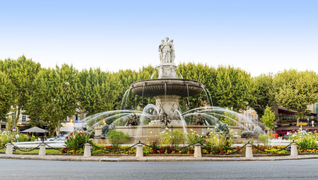 france: Fountain at La Rotonde in Aix-en-Provence, France