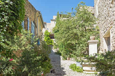 luberon: Narrow street with typical houses and plants under the blue sky in the old village of Ansouis, Provence, France, region Luberon