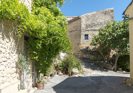luberon: typical houses and plants under the blue sky in the old mountain village of Ansouis, Provence, France, region Luberon Stock Photo