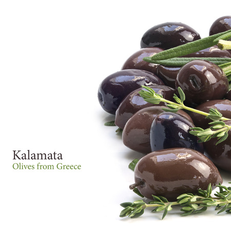 kalamata: Kalamata, the aromatic black olive from Greece as a border background isolated on white, may be used vertical and horizontal, sample text in the copy space