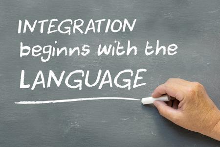 Hand auf eine Tafel mit den Worten Integration beginnt mit der Sprache. Sprachkurs-Konzept zeigt, teatcher Handschreiben auf der Tafel.