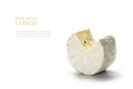 say cheese: soft blue cheese from France isolated on a white background, sample text Smile and say cheese