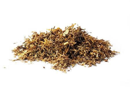 small heap of loose tobacco, a portion for a pipe, cigar, or hand-rolled cigarette,  isolated on a white background