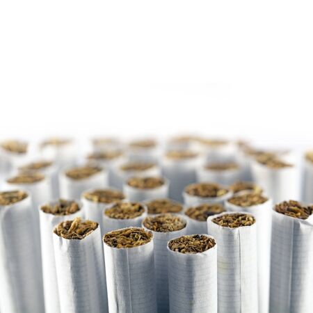 narrow depth of field: group of cigarettes against a white background, macro shot with selected focus and narrow depth of field