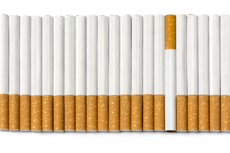 vices: row of filter cigarettes, one is different laying upside down, background texture  isolated on white