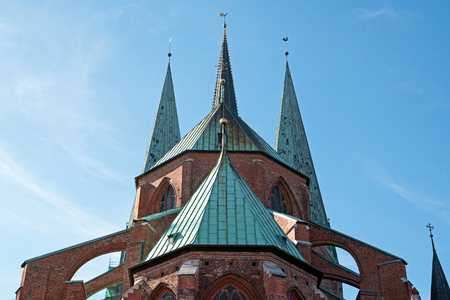 steeples: Steeples of St. Marys Church against the blue sky in Luebeck, Germany