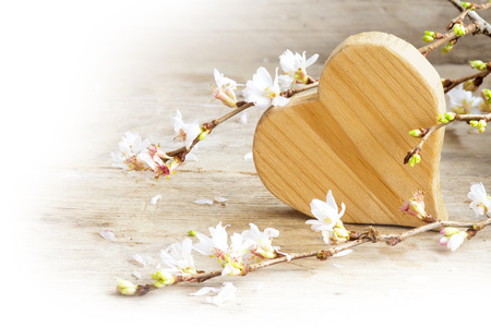 love symbol: heart shape of wood with blooming branches from winter cherry on a rustic wooden table, love symbol for valentines day or mothers day, corner background fading to white with copy space, selected focus