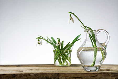 narrow depth of field: snowdrop flowers in vases of glass on a rustic wooden table against a bright background, copy space, selected focus, narrow depth of field Stock Photo