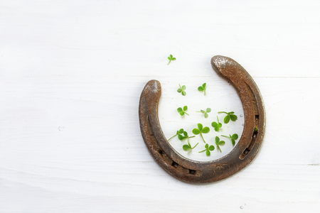 old lucky horseshoe with a few small clover leaves, on white wood, symbol for good luck, background with copy space