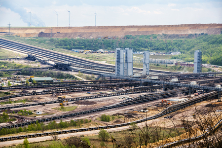 bagger: Conveyor belt systems at the lignite (brown coal) strip mining Garzweiler, Germany, a large surface mine for power generation
