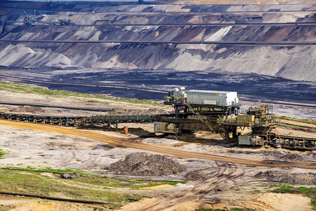 bagger: lignite (brown coal) strip mining in Garzweiler, Germany, a large surface mine for power generation with significant impact on the environment and to the residents who have to be resettled